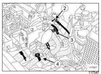 Renault Clio. Coolant temperature sensor: Removal - Refitting