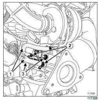 Renault Clio. Exhaust fuel injector cooler: Removal - Refitting