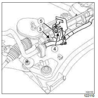 Renault Clio. Headlight beam adjustment front sensor: Removal - Refitting
