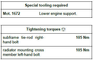 Renault Clio. Left-hand suspended engine mounting: Removal - Refitting