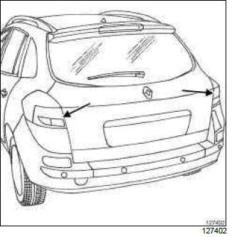 Renault Clio. Rear lighting: List and location of components