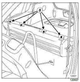 Renault Clio. Rear loading trim: Removal - Refitting