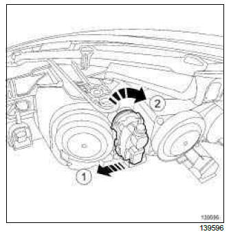 Renault Clio. Remote headlight beam adjustment actuator: Removal - Refitting
