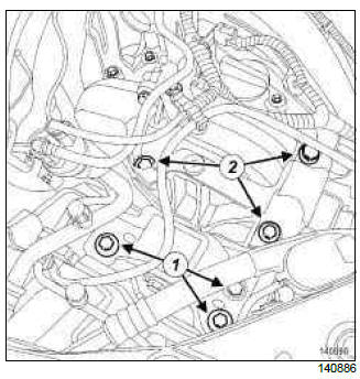 Renault Clio. Right-hand suspended engine mounting: Removal - Refitting