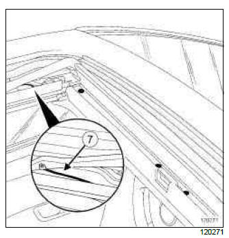 Renault Clio. Sunroof deflector: Removal - Refitting