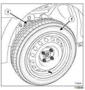 Renault Clio. Wheel: Removal - Refitting