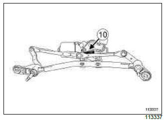Renault Clio. Windscreen wiper mechanism: Removal - Refitting