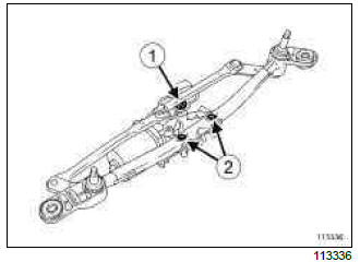 Renault Clio. Windscreen wiper motor: Removal - Refitting
