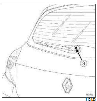 Renault Clio. Rear screen wiper arm: Removal - Refitting